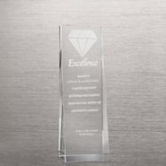 Etched Crystalline Tower Trophy -  3D Diamond